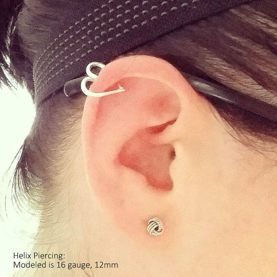 Helix Ear Heart Earring Also for Daith Rook Tragus by wirewrap