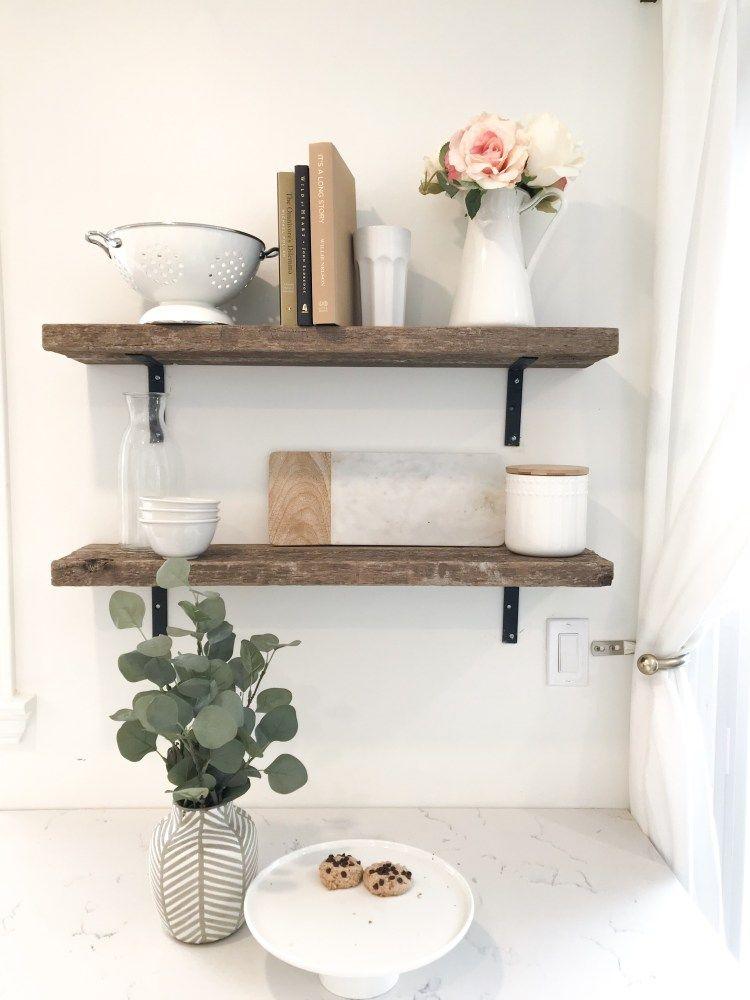 DIY Rustic Open Farmhouse Shelves Kitchen wall decor
