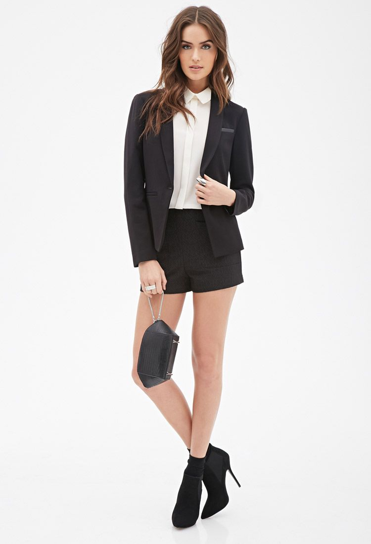 Faux Leather-Paneled Blazer | Forever 21 Canada