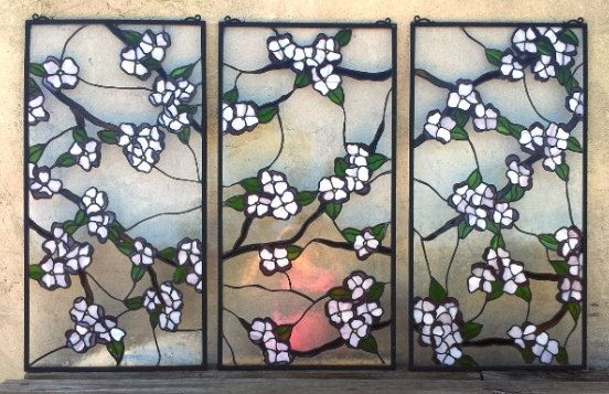Stained Glass 3 Hanging PanelSet / Dogwood by TerrazaStainedGlass, $1997.00