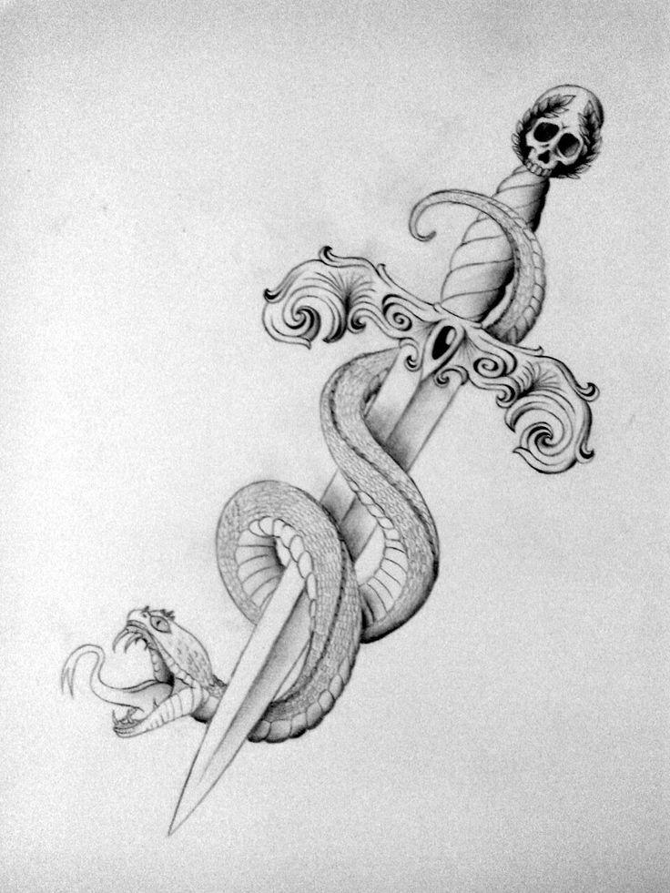 Grey Ink Snake With Dagger Tattoo Design Dolch Tattoo Schwert