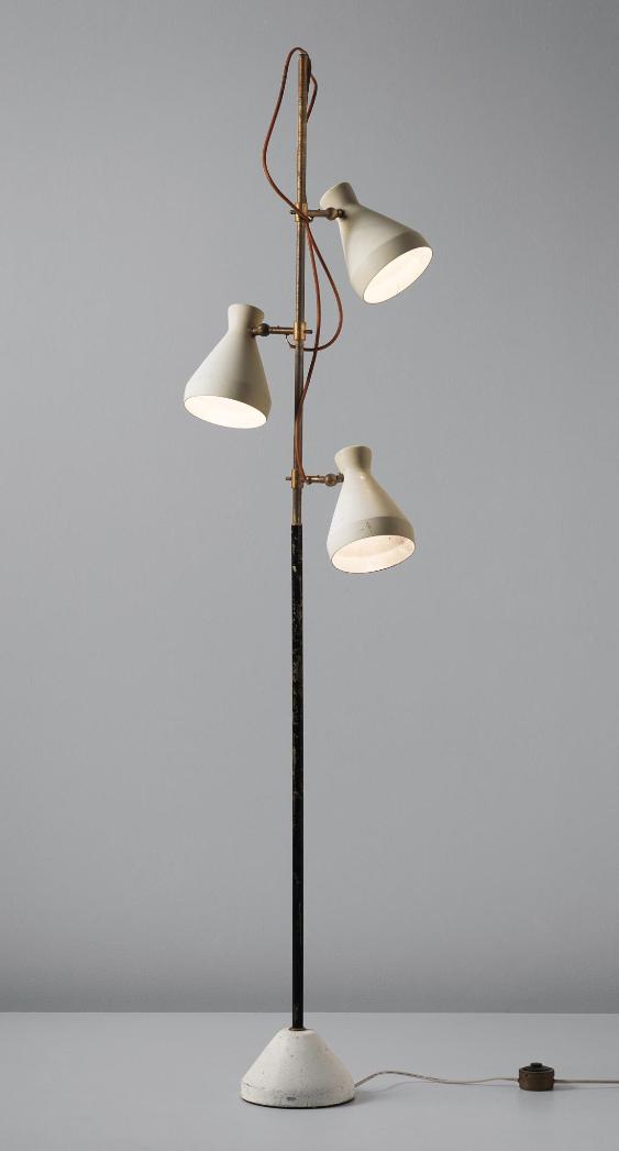 Gino Sarfatti Enameled Metal And Brass Floor Lamp For Arteluce C1951 Lampes De Sol Modernes Luminaire Lampadaire