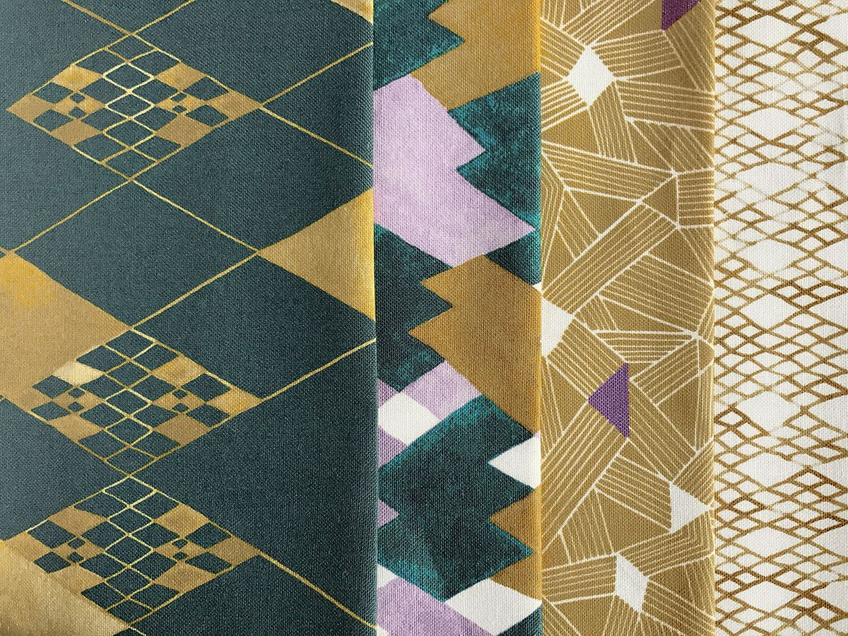 Fabric by eunice park textiles shown from the serpentine collection