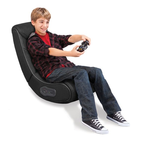 Gray Stripe Rocker Gaming Chair With Express 2 0