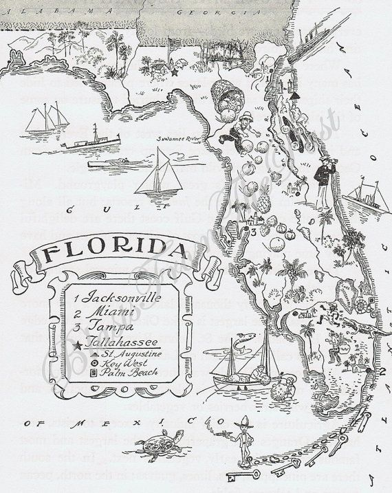 MAP Of FLORIDA Vintage Perfect For Framing Whimsical Adorable - Where is tampa on map of us