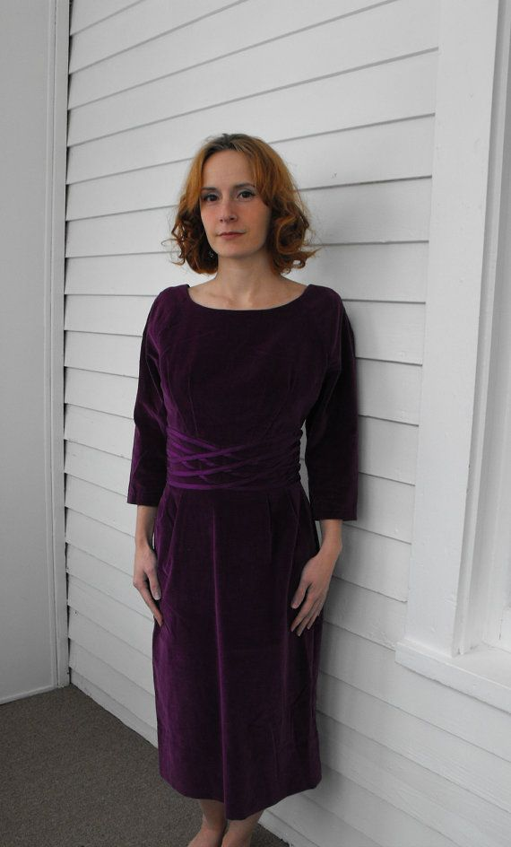 Vintage 60s Velvet Dress Purple Grape Winter Wiggle XS by soulrust, $69.99