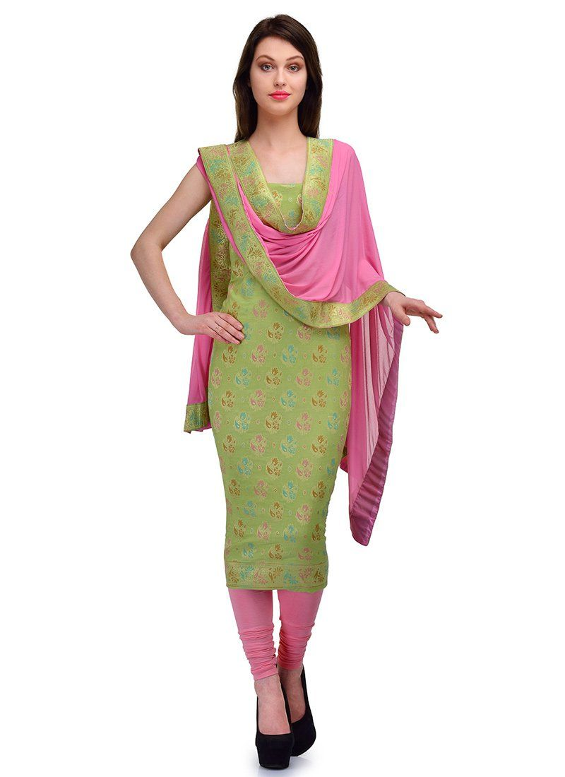 Green cotton jacquard churidar suit indian clothes i like