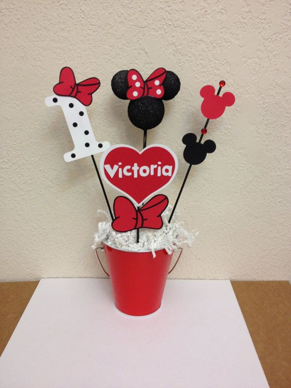 minnie mouse birthday decorations set of 4 centerpieces selber machen pinterest. Black Bedroom Furniture Sets. Home Design Ideas