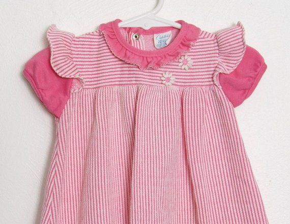 a96a9c518 Vintage Girl's Carter's Dress / Pink and White Striped w/ Daisy Appliqué /  Baby Girl 70s Dress / Siz
