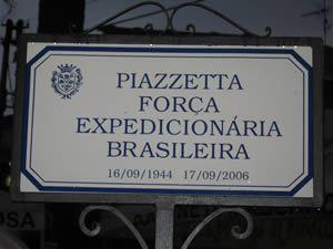 Piazzetta Força Expedicionária Brasileira localizada em Massarosa na Itália. Homenagem aos nossos Pracinhas.
