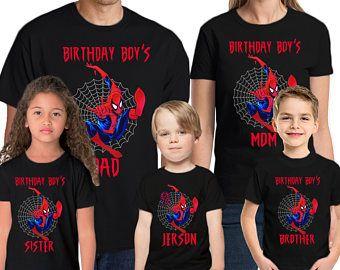 201e1ffa5 Spider-man Birthday Shirt Add Name & Age Spiderman Custom Birthday Party  TShirt 01