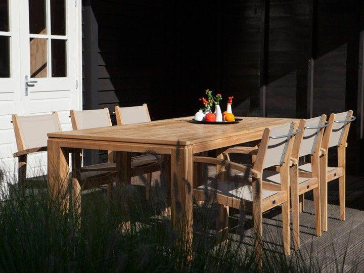 Garten Esstisch-Set Stella & Caldo D 7-teilig Teak & Textilene Taupe ...
