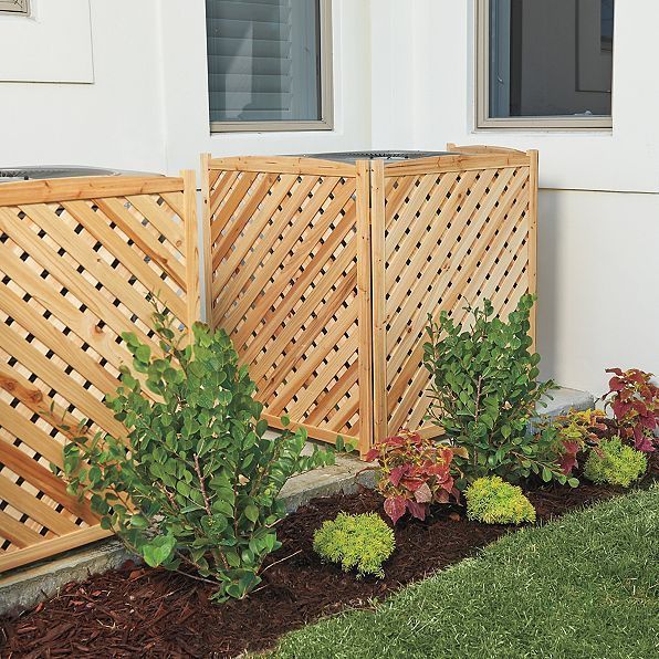 """38"""" Wood 3 Panel Air Conditioner Screen Cover Outdoor"""