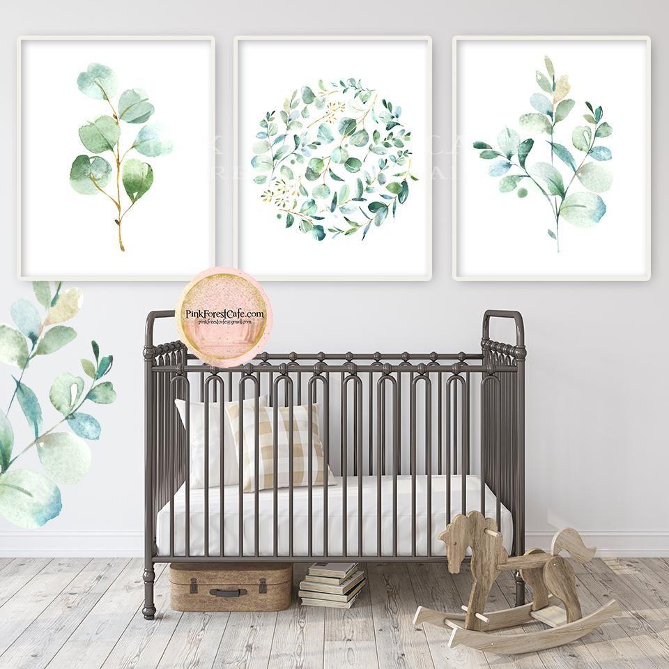3 Eucalyptus Botanical Wall Art Print Baby Nursery Gender Neutral
