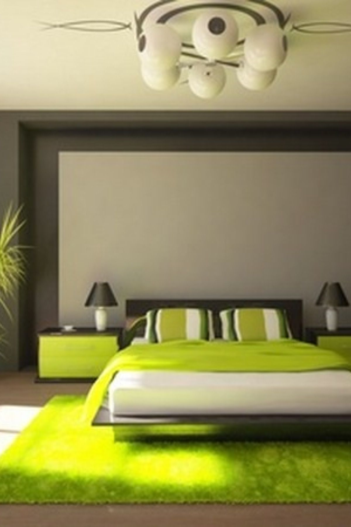 Chambre Verte Et Grise Chambre Verte Lime Et Grise Decor In 2019 Green Bedroom Design