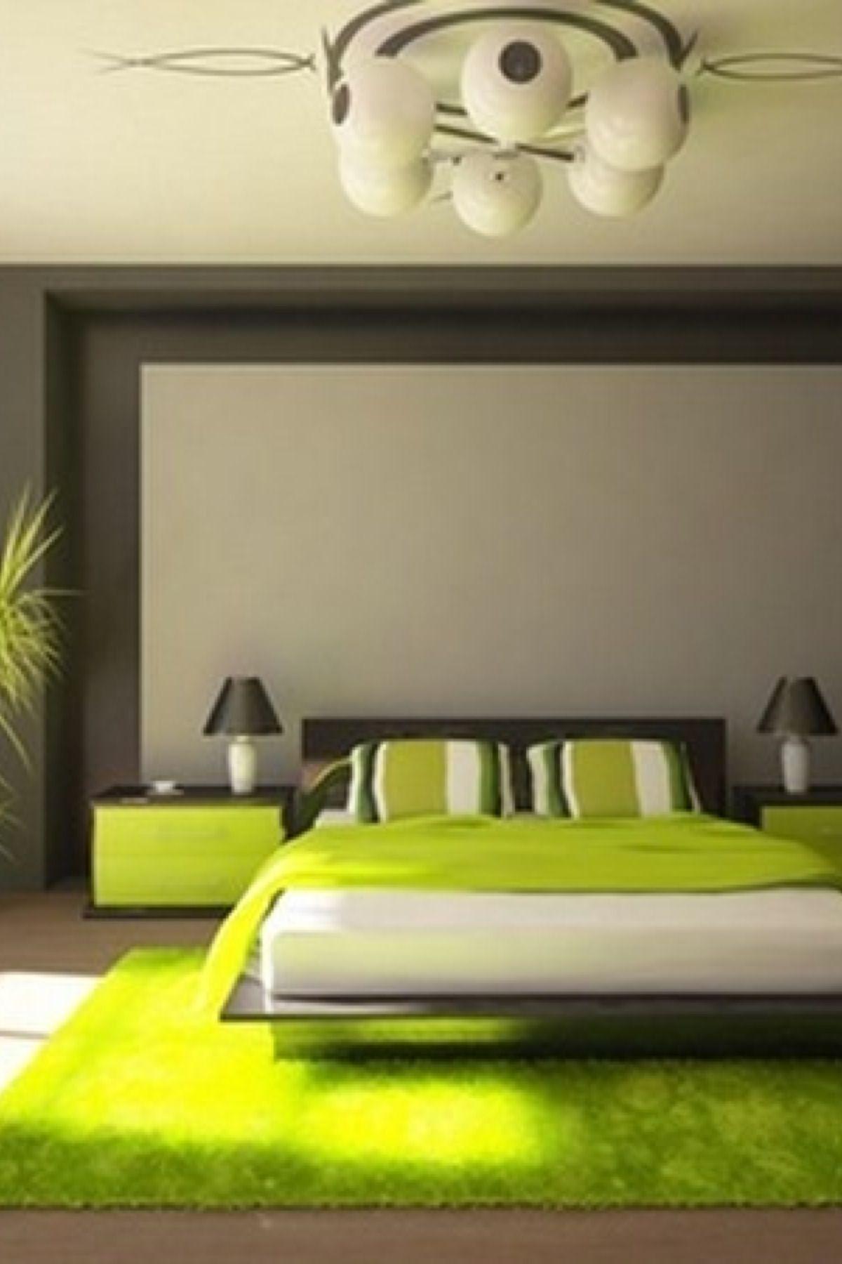 Charmant Chambre Verte Lime Et Grise