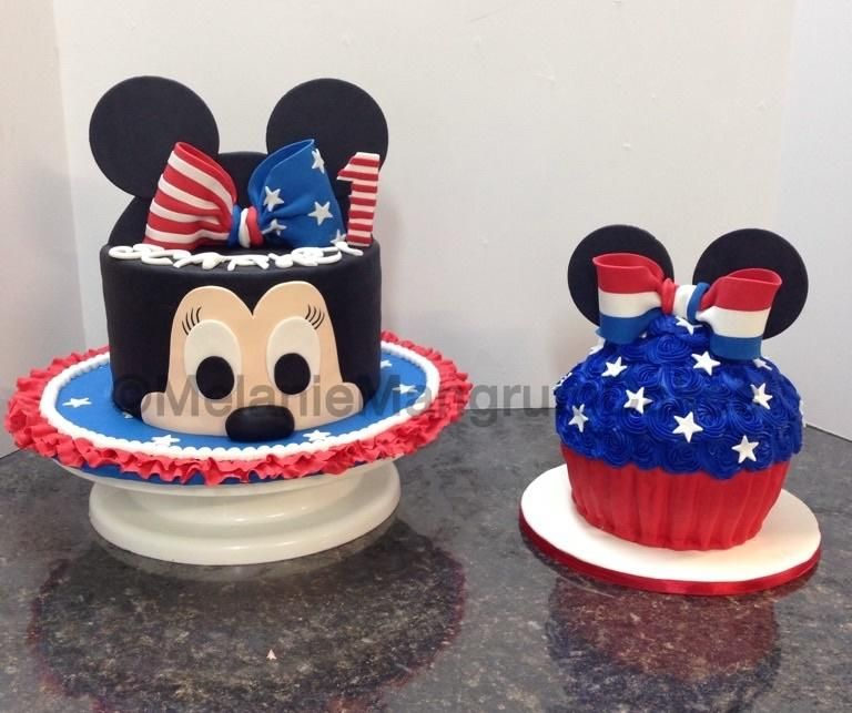 Remarkable Patriotic Minnie Cake By Melanie Mangrum With Images Baby Funny Birthday Cards Online Fluifree Goldxyz