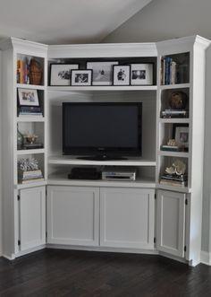 Captivating White Corner Tv Cabinet With Shelves. DIY