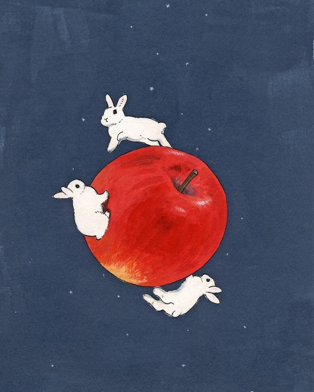 apple with happy bunnies🐇 My bun loves apples!🍎 How