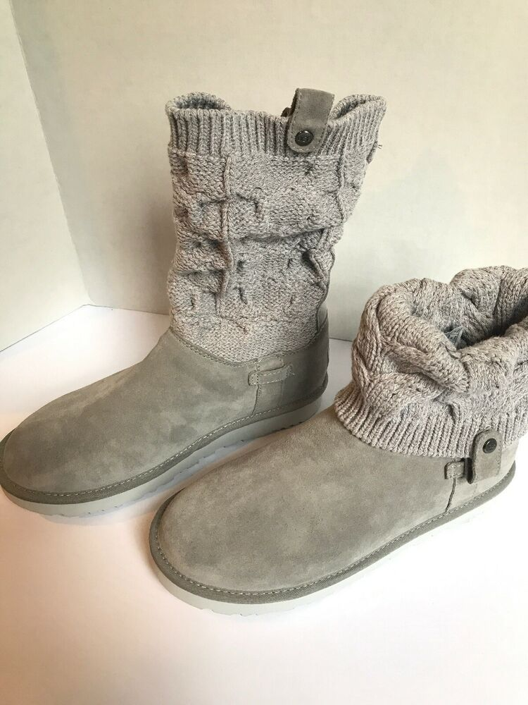 eb4f1af47e4 NEW Womens UGG Boots Size 11 Suede & Knit Cuff Saela Style Shearling ...