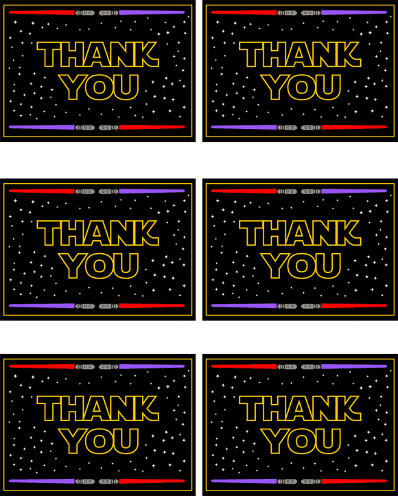 photo relating to Star Wars Thank You Cards Printable Free identified as Star Wars Totally free Printable Thank Oneself Playing cards