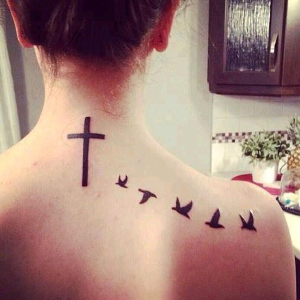 Tatuajes Palomas Cruz Espalda Tattos Pinterest