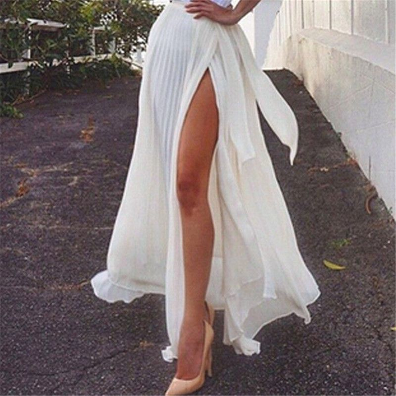 cb058b89a96f New Arrival Summer Skirt Womens High Waist Pleated Split Sexy Party White  Long Skirt Ladies Casual Beach Maxi Skirts saia faldas-in Skirts from  Women s ...