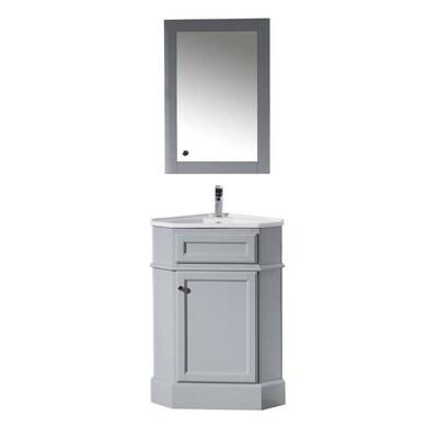 Stufurhome 18 In Gray Single Sink Bathroom Vanity With White Ceramic Top Mirror Included Lowes Com Corner Bathroom Vanity Single Sink Bathroom Vanity Bathroom Vanity