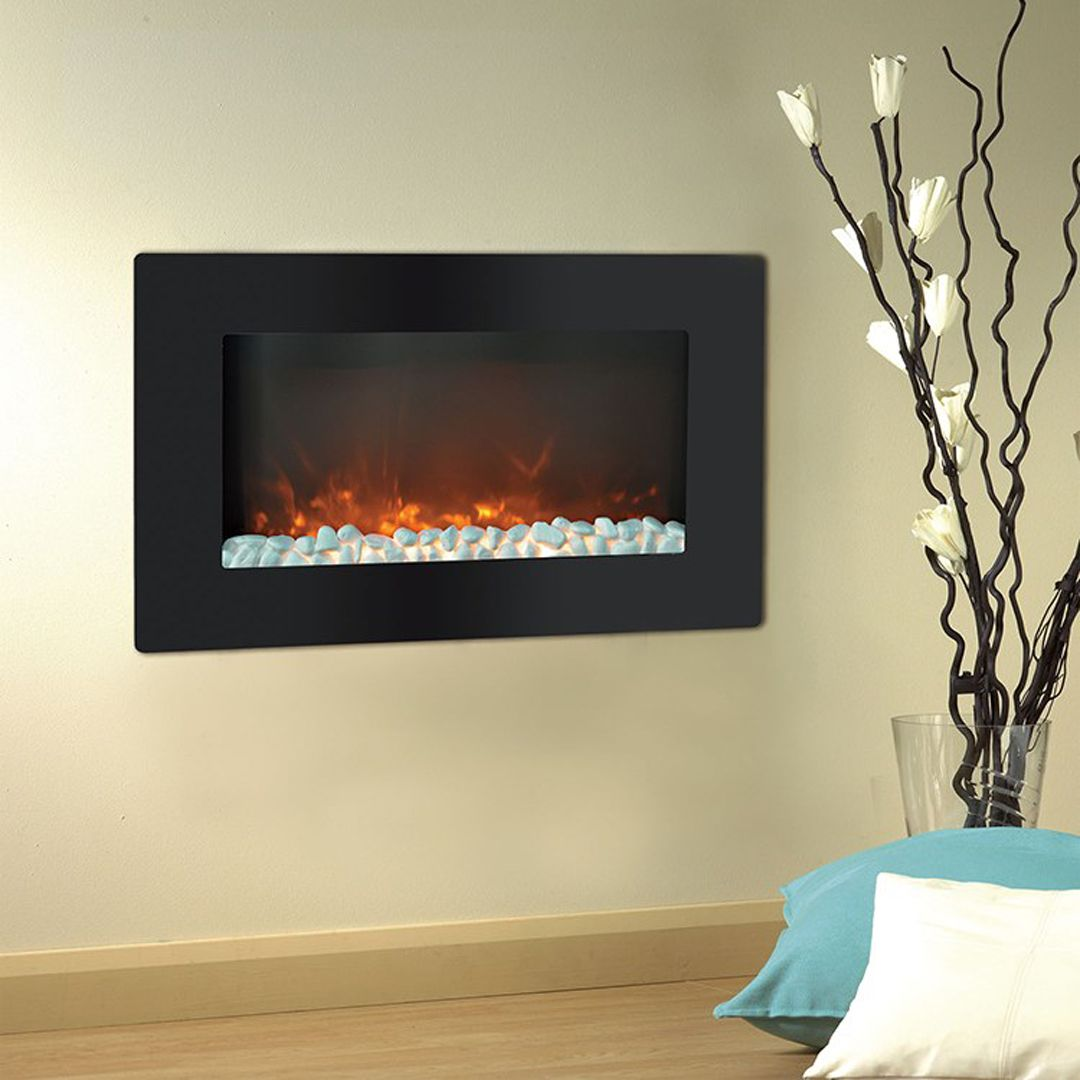 Electric Fireplace Callisto Wall Mount Black 30 Inch Crystals