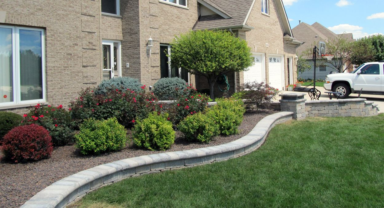 Home Entrance Landscaping Front Design And Installation Using Unilock Brussels Pavers