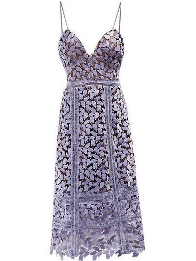 Slate Spaghetti Strap Backless Crochet Hollow Out Dress