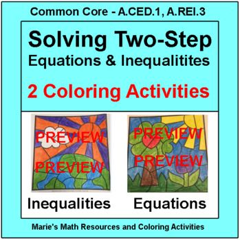 Solving two-step equations and inequalities: 2 coloring activities ...