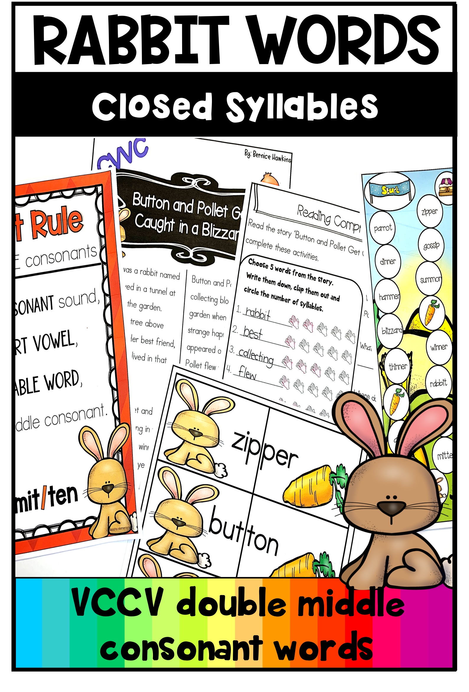 Closed Syllables Rabbit Words Practice Double Consonant