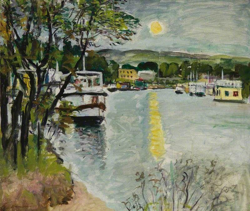 """""""Moonlight, Loch Lomond"""", 1924, Oil on Canvas, 51 x 61.5 cm."""