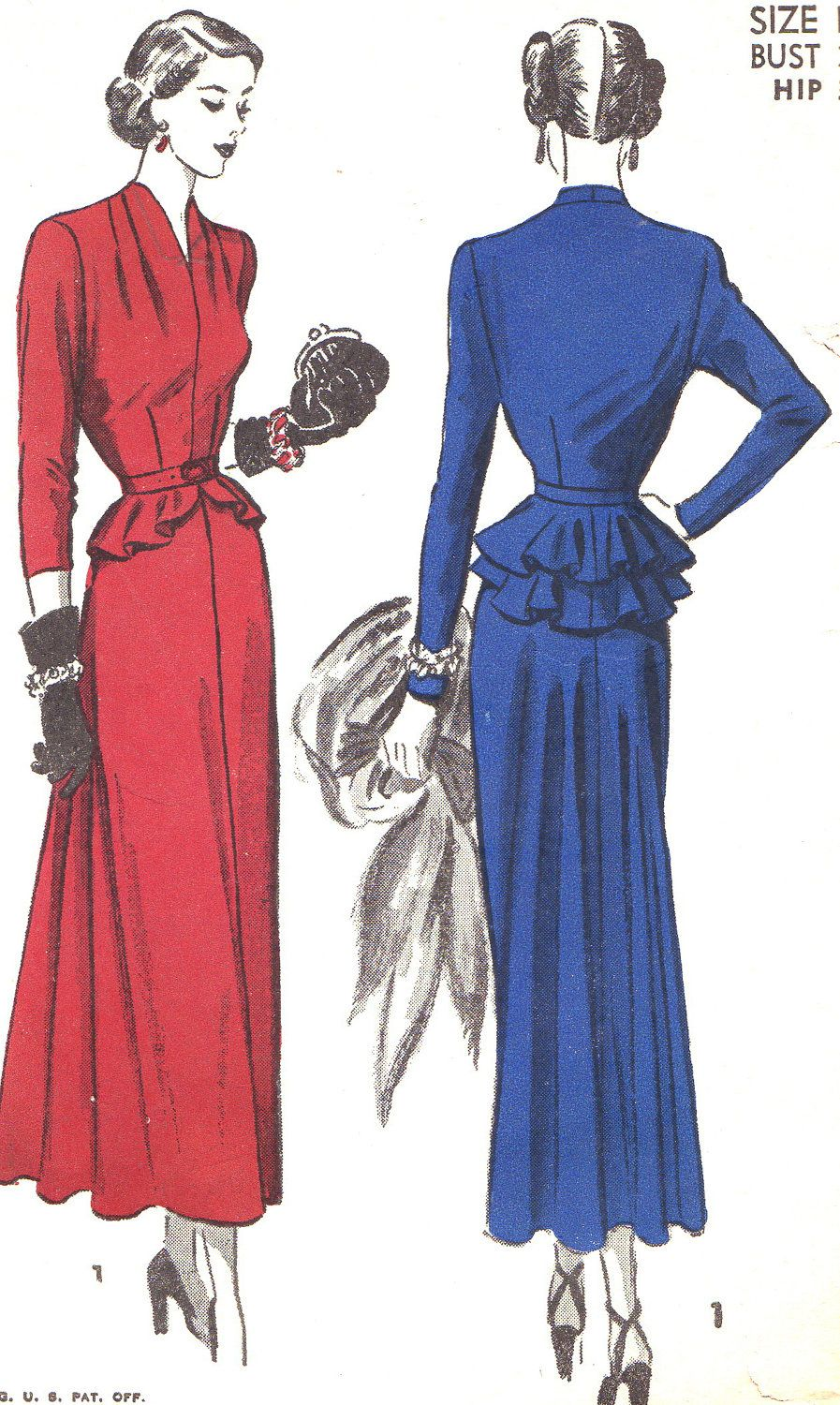 Vintage sewing pattern s advance evening gown dress with