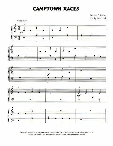 Free piano sheet music for Camptown Races  | Free Piano