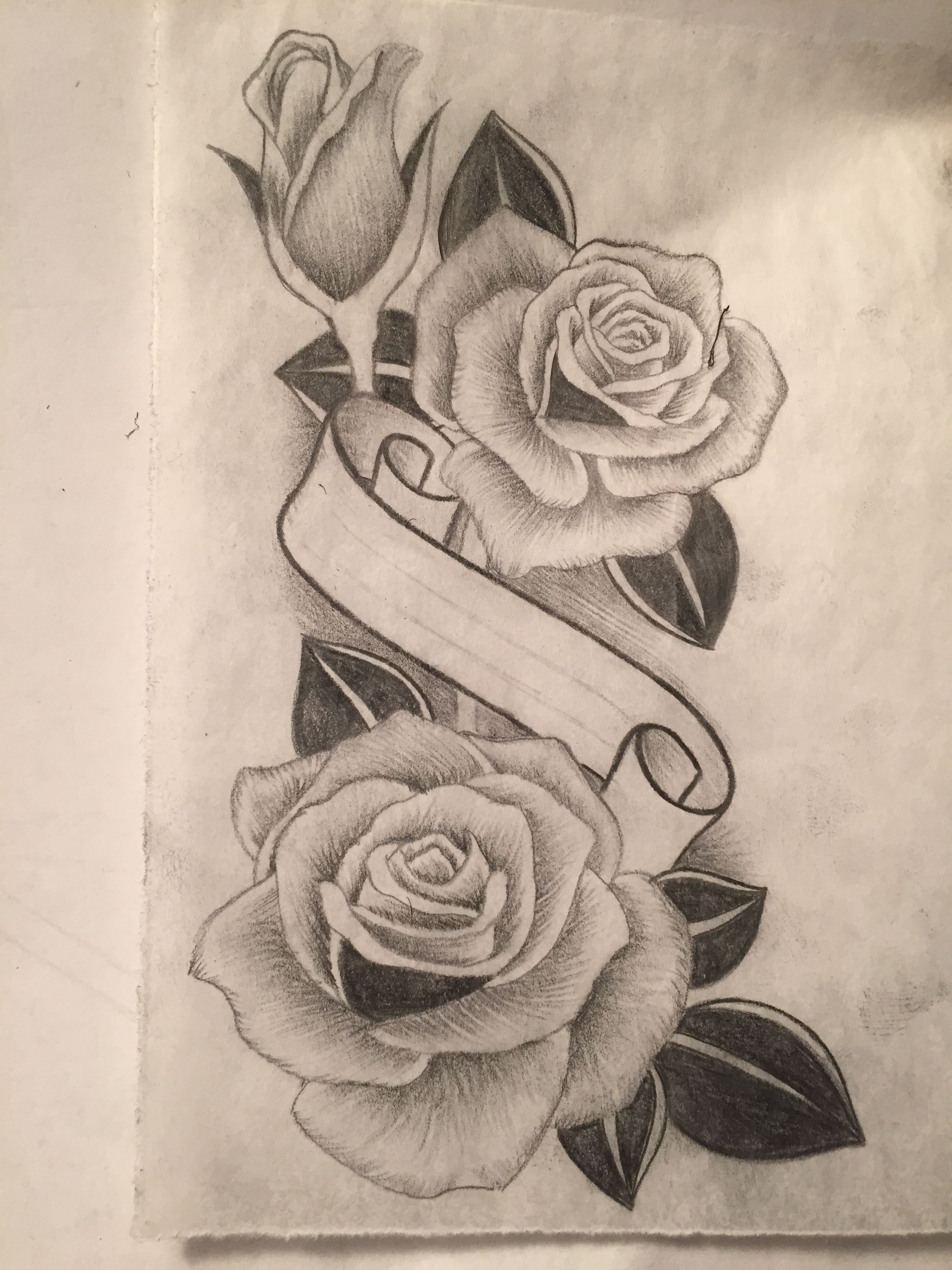 Rose Design With Banner In Center Of Roses Realistic Rose Tattoo Flower Drawing Floral Tattoo Design