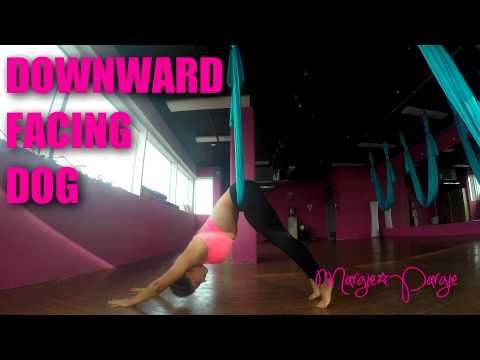 downward facing dog aerial yoga tutorial  aerial yoga