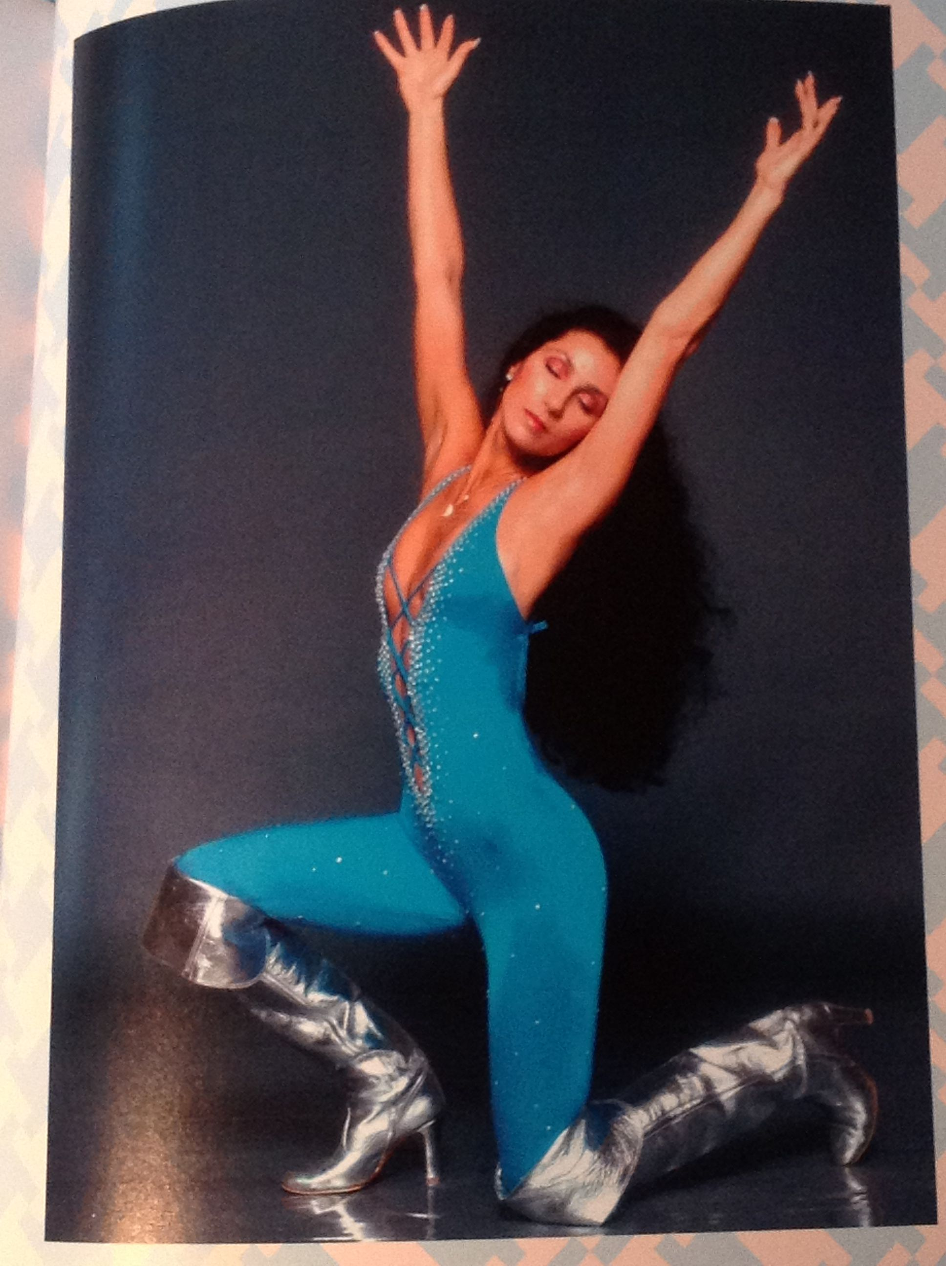 Cher in a Bob Mackie turquoise Spandex/Lycra bodysuit from Vintage Fashion by Ottilie Godrey pg. 109