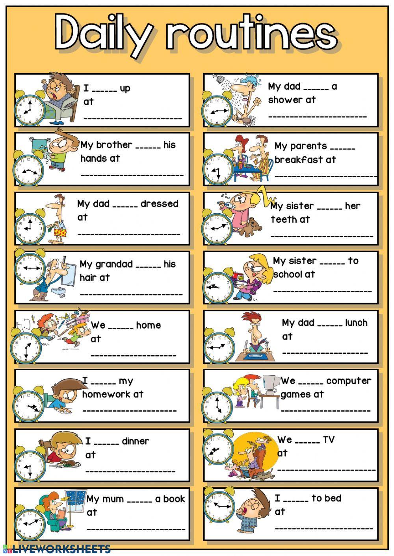 vocabulary daily routines Google Search Exercícios de