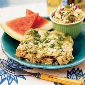 Chicken Chilaquiles - Make this Southwestern chicken favorite for a festive dinner. Chilaquiles mimic a traditional casserole by layering ingredients. For even heat, add 1/4 teaspoon ground red pepper to the tomatillo mixture.