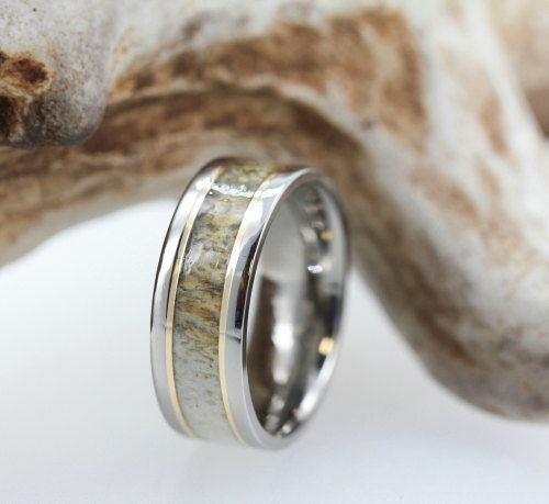 Titanium Ring with Deer Antler And 14K Yellow by jewelrybyjohan