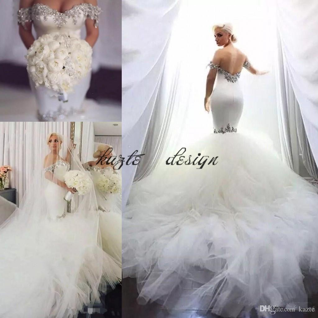 c8f0e57d75 Bling Bling Mermaid Satin Wedding Dresses Crystal Beaded Slim Tulle ...