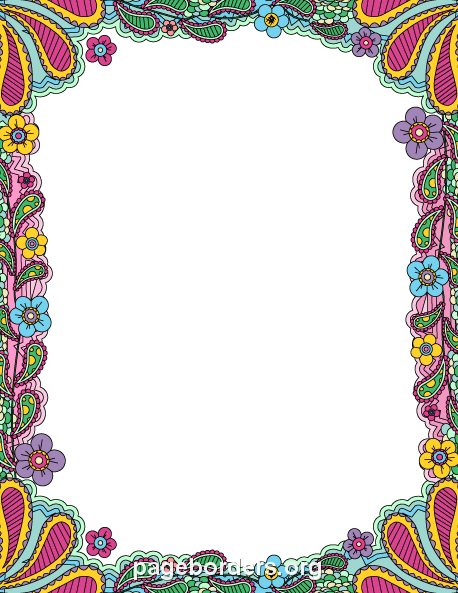 Printable Colorful Doodle Border. Use The Border In Microsoft Word Or Other  Programs For Creating