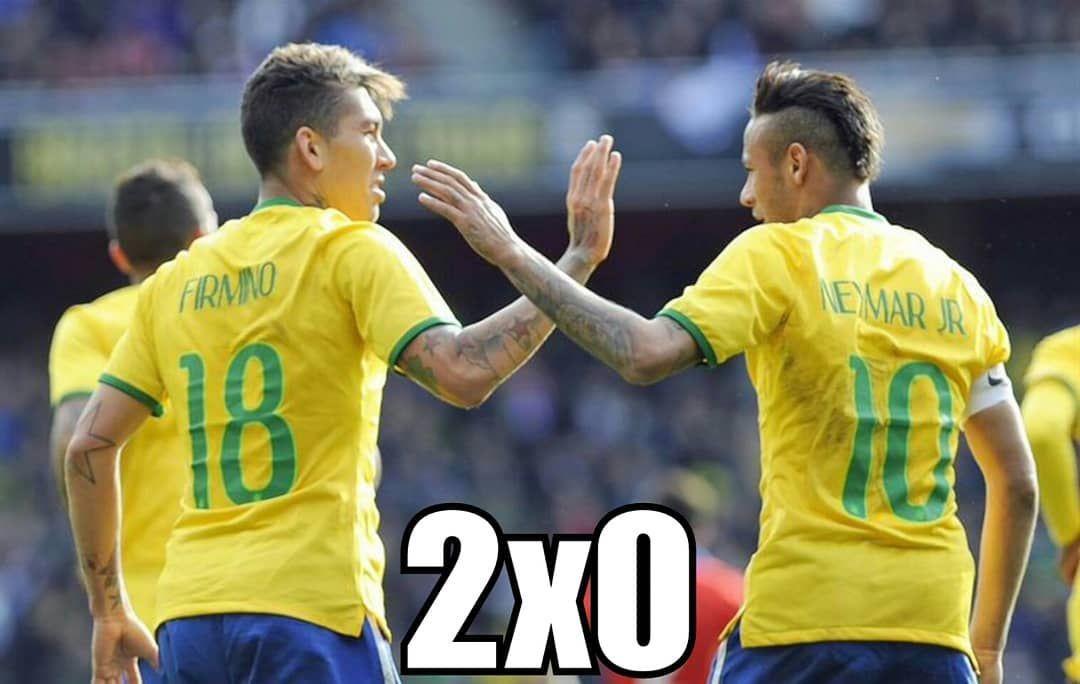 Fim De Jogo Brasil 2 Croacia 0 Neymar Fez O Primeiro Gol E Nos Ultimos Segundos Firmino Marcou Em Casa Liverpool End Of Th Neymar Pic Neymar Sports Jersey