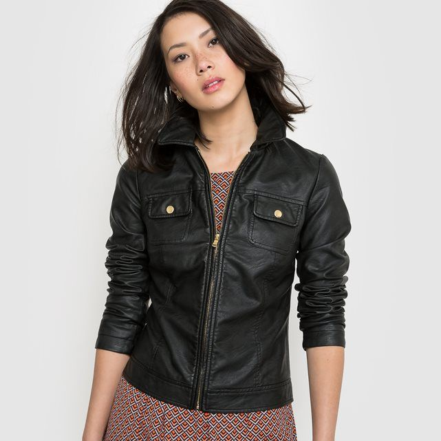 38c20ca48 Faux leather bomber jacket. Zip fastening. 2 breast pockets with ...