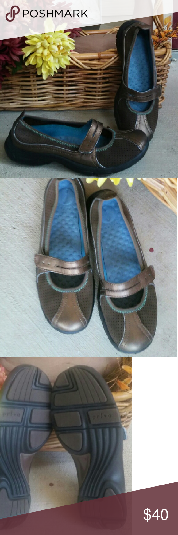 Privo by Clarks Float Mary Janes Like new, chocolate color with bronze finish. Super cute, extremely comfortable and lightweight! Some say these run a bit big. May want to try this brand first to see if it's the case for you. Clarks Privo  Shoes Flats & Loafers