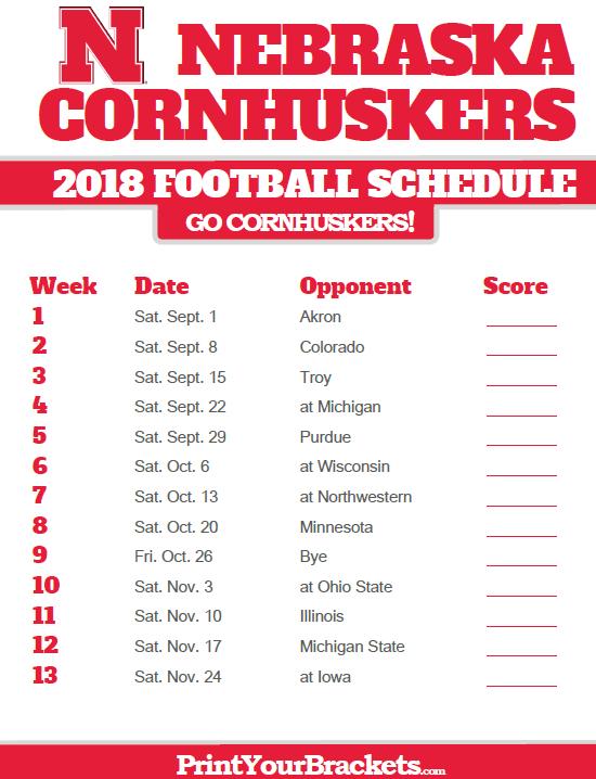 2018 Printable Nebraska Cornhuskers Football Schedule