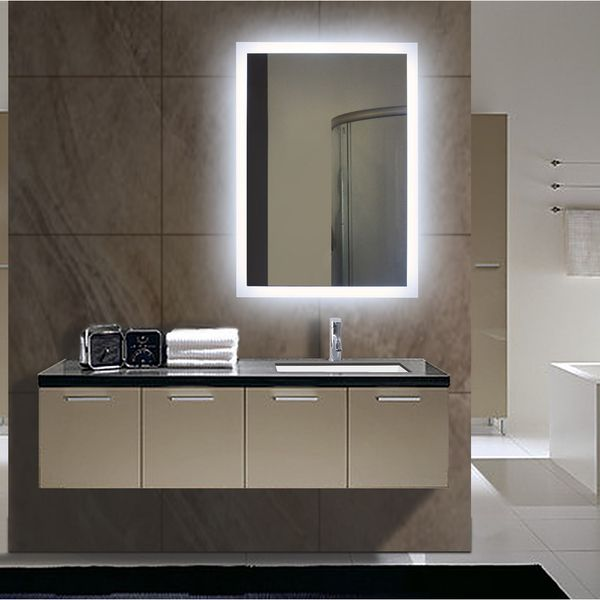 Rectangular backlit small led mirror rect243260001 - Small bathroom mirrors with lights ...