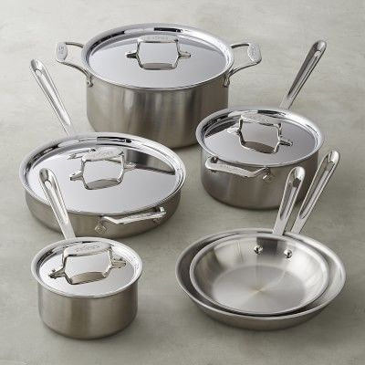 All Clad D5 Brushed Stainless Steel 10 Piece Set Cookware Set Brushed Stainless Steel Pots And Pans Sets All clad d5 brushed stainless steel 10 piece set